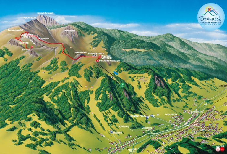 Wanderkarte mit Weg von Bergstation zur Stiealm Latschenkopf