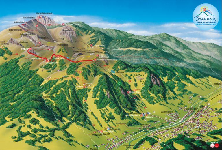Wanderkarte mit Weg von Bergstation zur Stiealm