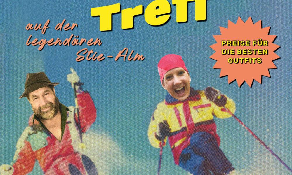 Plakat mit Marianne und Stefan als Skifahrer